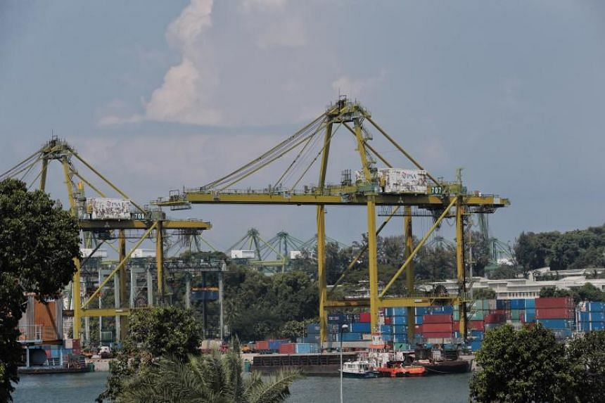 """Cranes and containers on Pulau Brani on Aug 21. Some have questioned if having a """"Downtown South"""" resort on Pulau Brani would be the best use of the island."""