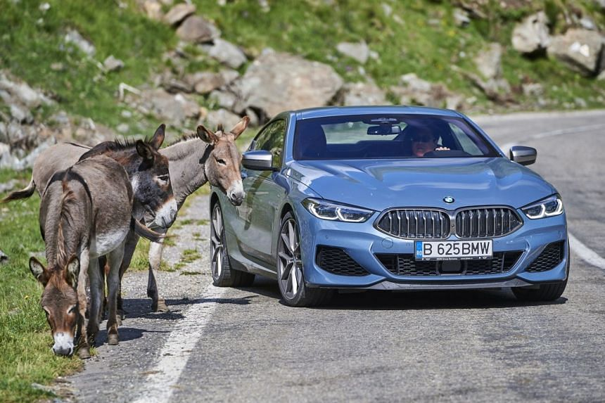 The BMW 850i Coupe on the Transfagarasan Highway.