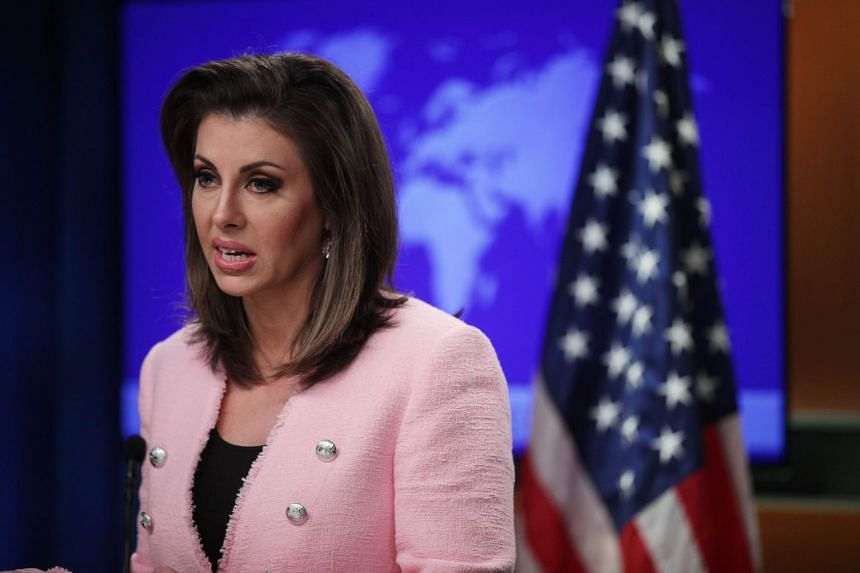 US State Department spokesman Morgan Ortagus speaking during a previous media briefing.
