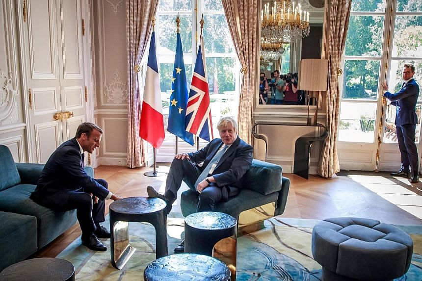 Visiting British Prime Minister Boris Johnson making himself at home during his meeting with French President Emmanuel Macron at the Elysee palace in Paris on Thursday, resting his foot on the table. The episode seemed to be part of a shared joke wit