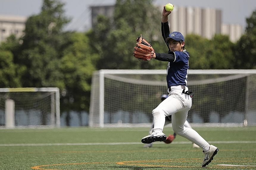 Evan Poo, who stepped up last week to fill the void left by Catholic High's injured first-choice pitcher, helped the school overcome Raffles Institution 5-3 in the Schools National boys' C Division softball final yesterday.