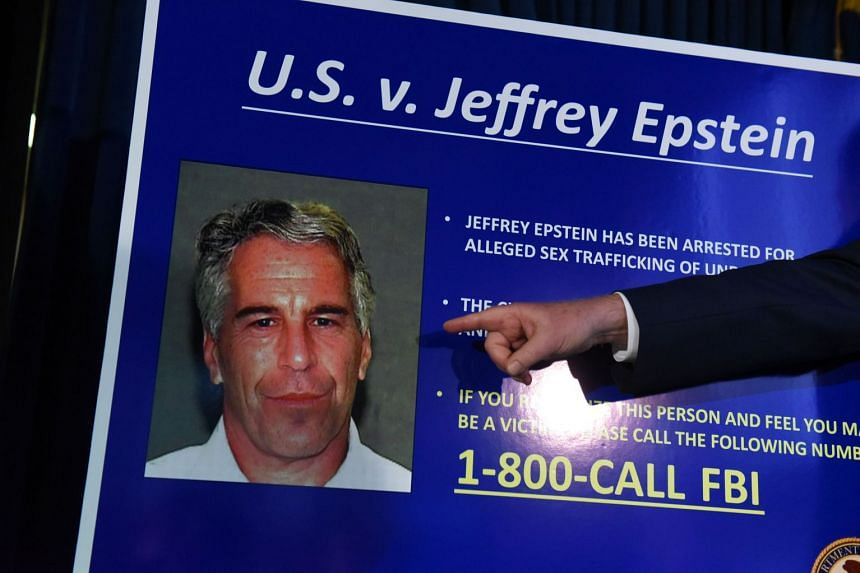 A July 2019 photo shows charges being announced against Jeffrey Epstein in New York City.