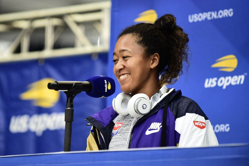 Osaka speaking to the media prior to the the 2019 US Open.