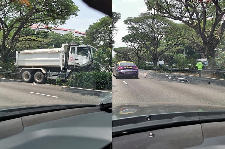 Pictures of the aftermath of the accident show a lorry which has run off the road.
