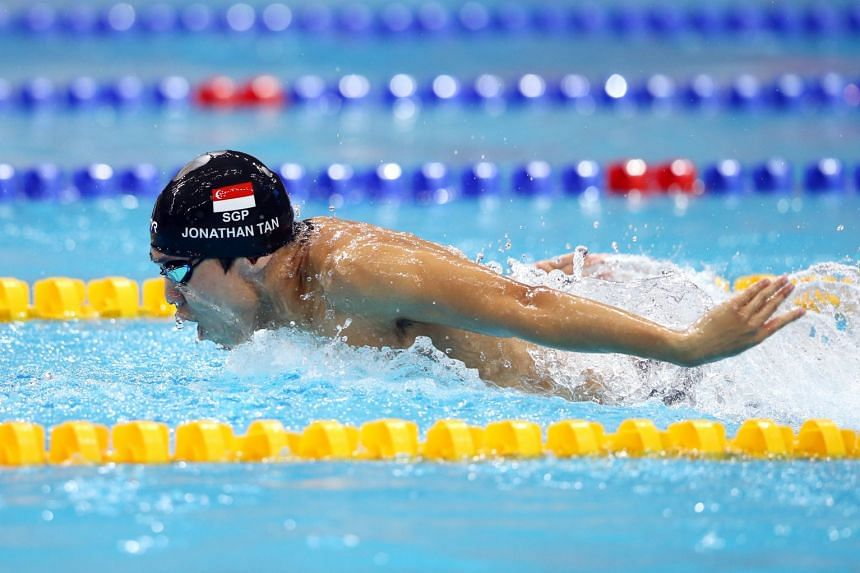 A June 2019 photo shows Jonathan Tan swimming in the 15th Singapore National Swimming Championships.