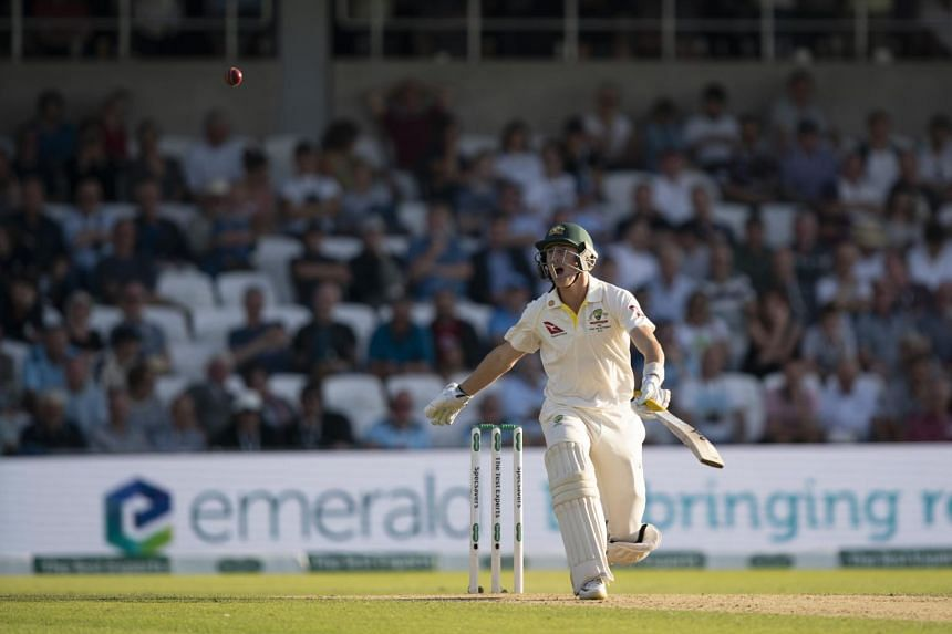 Australia's Marnus Labuschagne bats on the second day of the 3rd Ashes Test cricket match between England and Australia at Headingley cricket ground in Leeds, England on Aug 23, 2019.