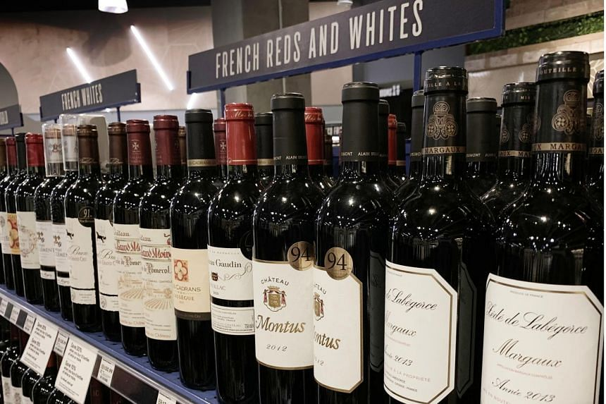 In a picture from Aug 18, 2019, French wines are displayed for sale at a supermarket in Los Angeles.