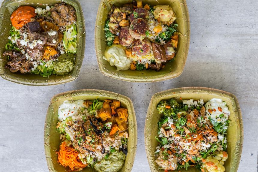 Grain bowls from Vios, a virtual restaurant run by Greek eatery Blu Kouzina in Dempsey.
