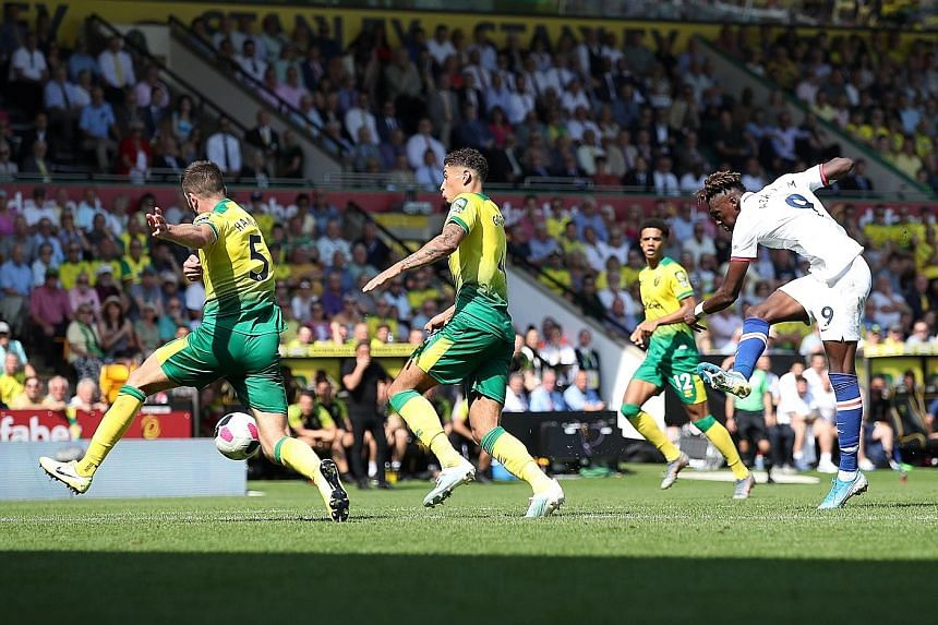 Chelsea's Tammy Abraham nets his second goal, the winner in the Blues' 3-2 win at Norwich.