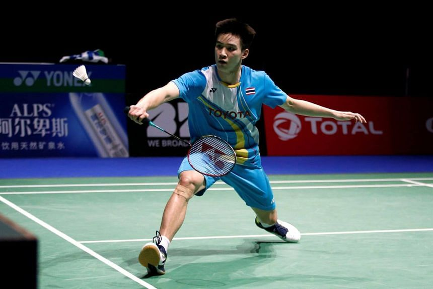 Thailand's Kantaphon Wangcharoen in action during his semi final men's singles match against Denmark's Anders Antonsen at the 2019 Badminton World Championships in Switzerland, on Aug 24, 2019.