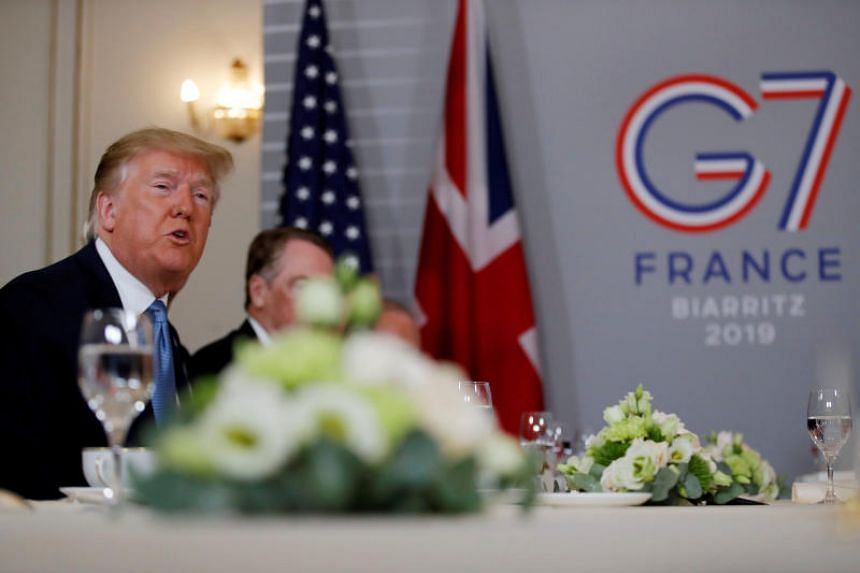US President Donald Trump speaks during the G-7 summit in Biarritz, France, on Aug 25, 2019.
