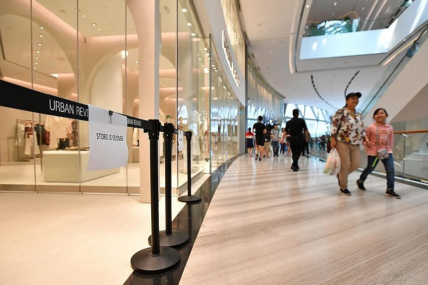 The Urban Revivo store at Jewel Changi Airport remained closed yesterday afternoon. A report said a few children knocked down a full-length, standalone mirror while playing in the store and it fell on the toddler. The 18-month-old toddler, identified