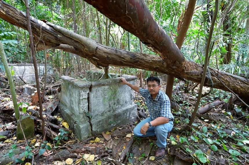 Heritage researcher Sarafian Salleh, seen here at the Marang Cemetery, has run tours of the area with Temasek Rural Exploring Enthusiasts and civic group My Community since stumbling upon the site and its graves in 2008.
