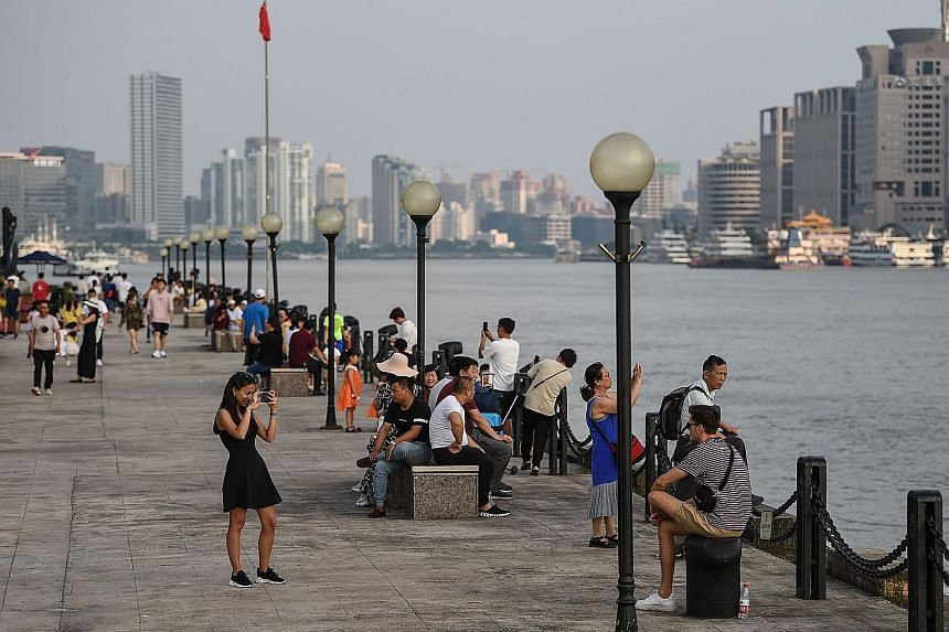 The Huangpu River in Shanghai. A deep-water drainage system that upgrades its flood defences will be completed next year.
