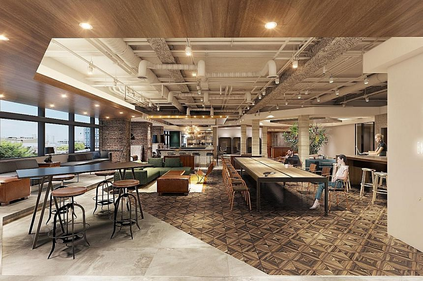 An artist's impression of the One&Co co-working facility at Twenty Anson in Tanjong Pagar. Japanese firms could benefit from such shared spaces, as the high start-up costs of establishing an office here can be offset.