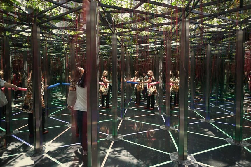 A 14-year-old girl who was playing at the mirror maze attraction (above) at Canopy Park in Jewel Changi Airport suffered a cut on her face. She received nine stitches for the wound.