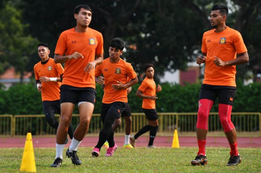 Hougang United players at a training session at Hougang Stadium, on Aug 25, 2019.