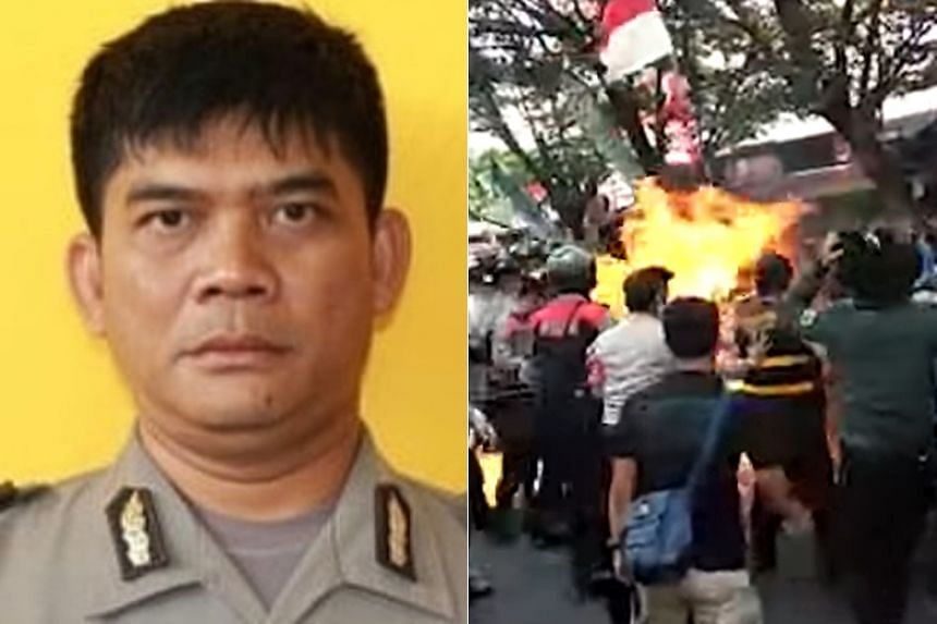 Cianjur Police officer Second Inspector Erwin Yudha Wildani was accidentally doused with gasoline and set on fire during a protest in Cianjur, West Java, on Aug 15.
