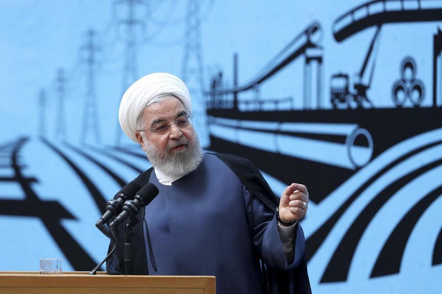 In a photo taken on Aug 26, President Hassan Rouhani speaks in a conference in Teheran, Iran.  Rouhani's remarks came as his government faced criticism over the visit of Foreign Minister Mohammad Javad Zarif to Biarritz for meetings on the sidelines