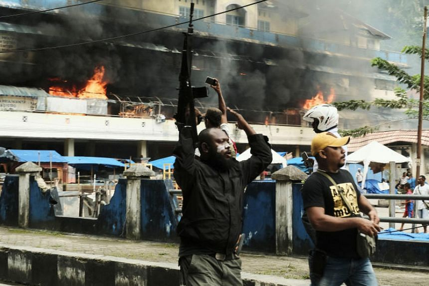 The demonstrations were triggered by a racist slur against Papuan students, who were hit by tear gas in their dormitory and detained in the city of Surabaya.