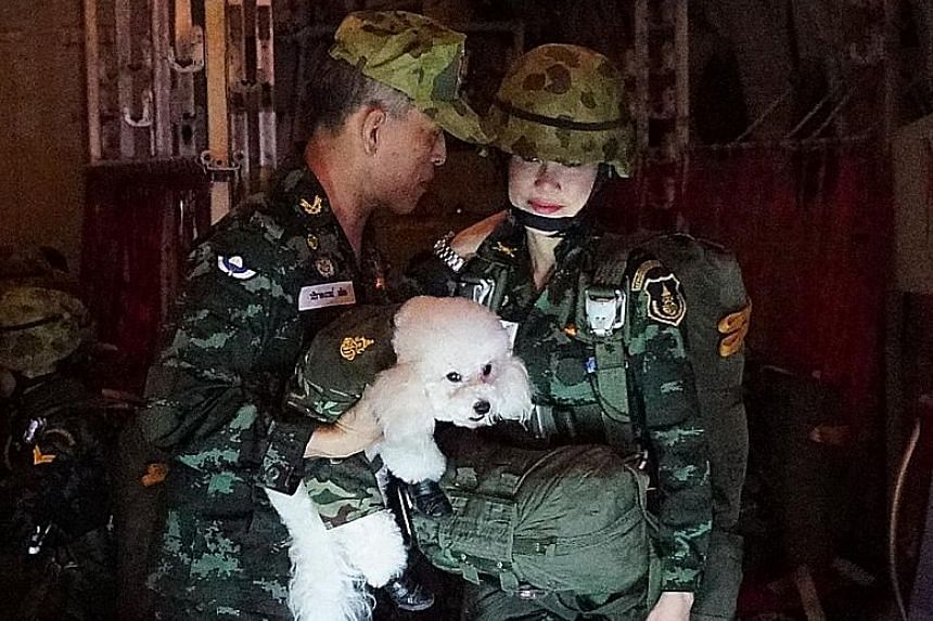 (From left) Thailand's King Maha Vajiralongkorn, carrying the royal pet poodle, with Maj-Gen Sineenat Wongvajirapakdi; Maj-Gen Sineenat, 34, at the controls of a light aircraft; and the king with Maj-Gen Sineenat, who he named Royal Noble Consort on