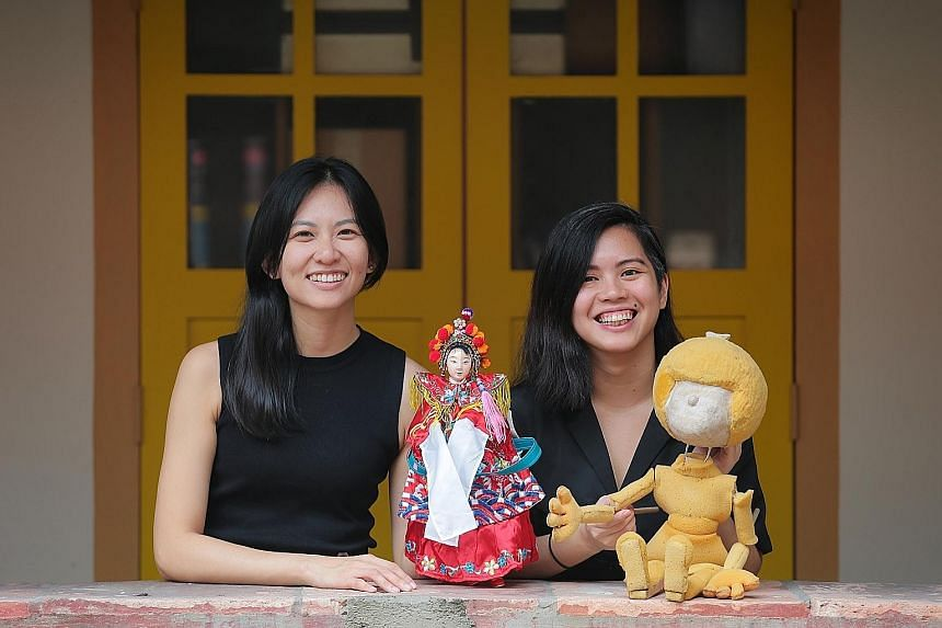 The Finger Players' two new artistic directors Ellison Tan (far left) and Myra Loke at Cairnhill Arts Centre, where the company is based.