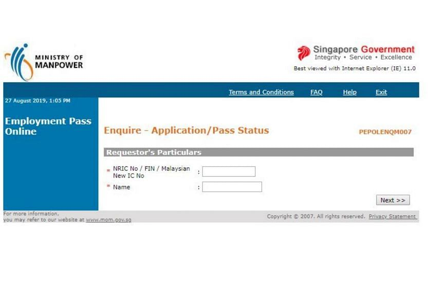 The fake website prompts users to check the status of their employment pass applications, with fields for them to enter their names and other personal details.
