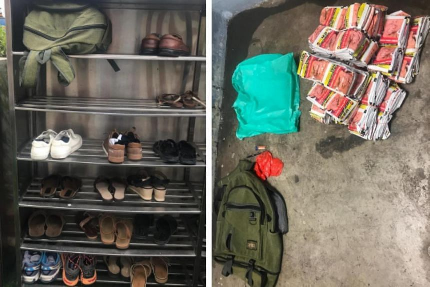 During the operation, officers found chewing tobacco in a haversack placed on a shoe rack in a temple.