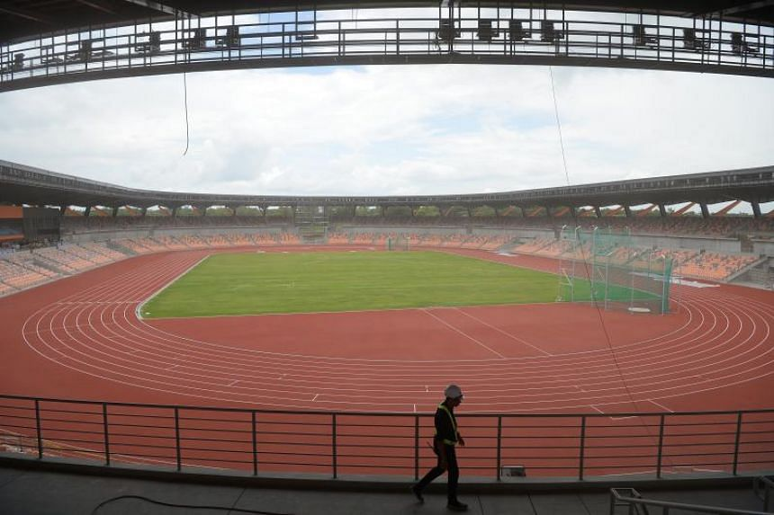 A photo taken on July 19, 2019, shows the athletics stadium for this year's SEA Games in New Clark City, the Philippines.