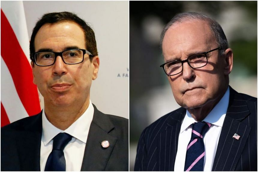 Treasury Secretary Steven Mnuchin (left) and economic adviser Larry Kudlow tried smooth out tensions in the business community prompted by President Donald Trump's tweet.