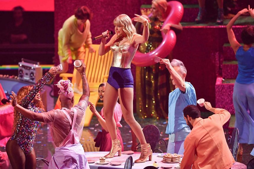US singer-songwriter Taylor Swift performs on stage during 2019 MTV Video Music Awards at the Prudential Center in Newark, New Jersey on Aug 26, 2019.