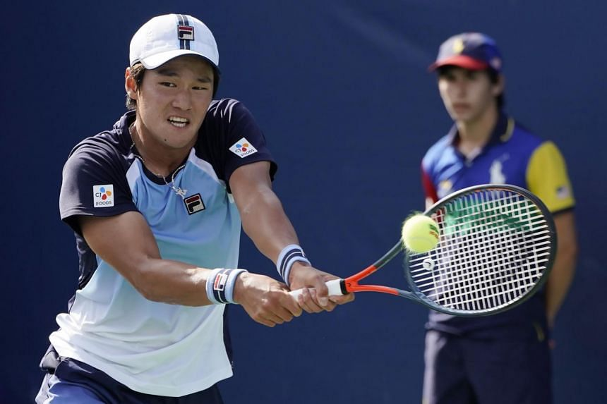 Soonwoo Kwon of South Korea hits a return to Hugo Dellien of Bolivia during their match on the first day of the US Open Tennis Championships, on Aug 26, 2019.