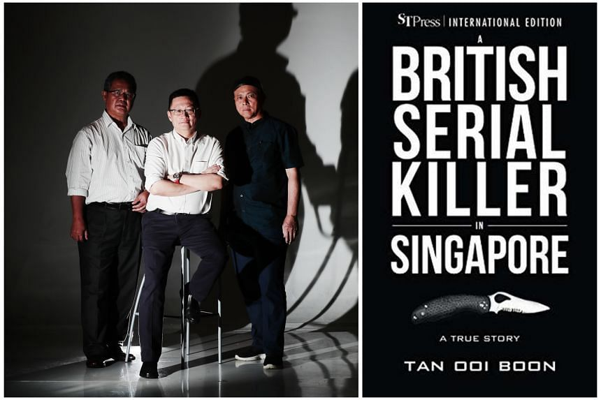Tan Ooi Boon (centre), who in May reissued an updated edition of his true-crime novel A British Serial Killer In Singapore, with Zainal Abidin Ismail (far left) and Zainudin Lee (right), both former policemen who had worked on the case.