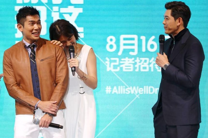 (From left) Elvin Ng, Pets Tseng and Romeo Tan during a press conference to launch Singapore-Taiwan drama series All Is Well.