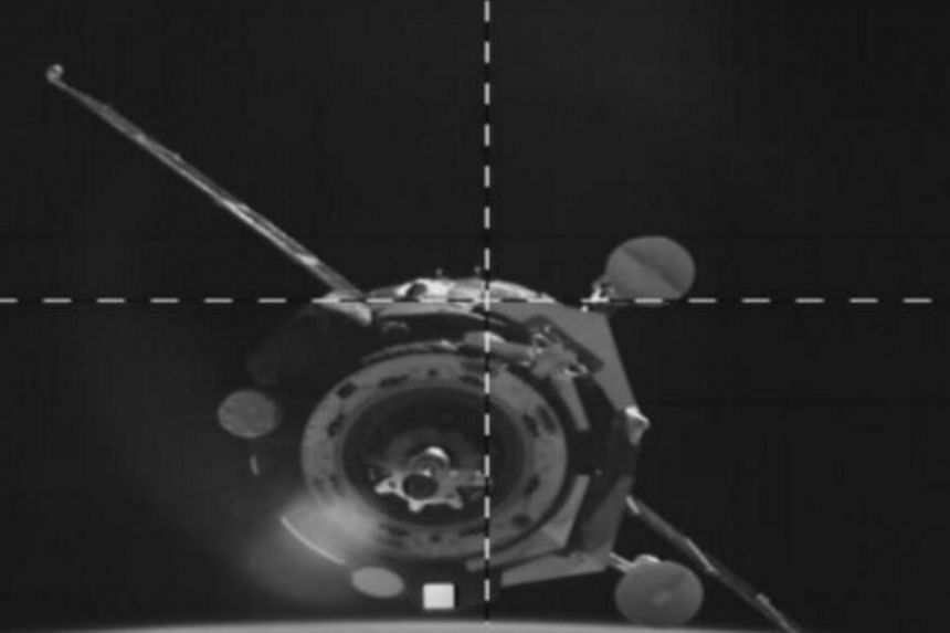The docking of the Soyuz MS-14 spacecraft with the International Space Station on Aug 27, 2019.