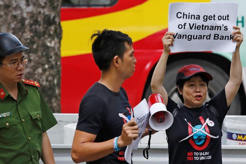Protesters in Hanoi rallying against China's presence in the Vanguard Bank area of the South China Sea on Aug 6, 2019. The Haiyang Dizhi 8 vessel first entered Vietnam's exclusive economic zone early last month.