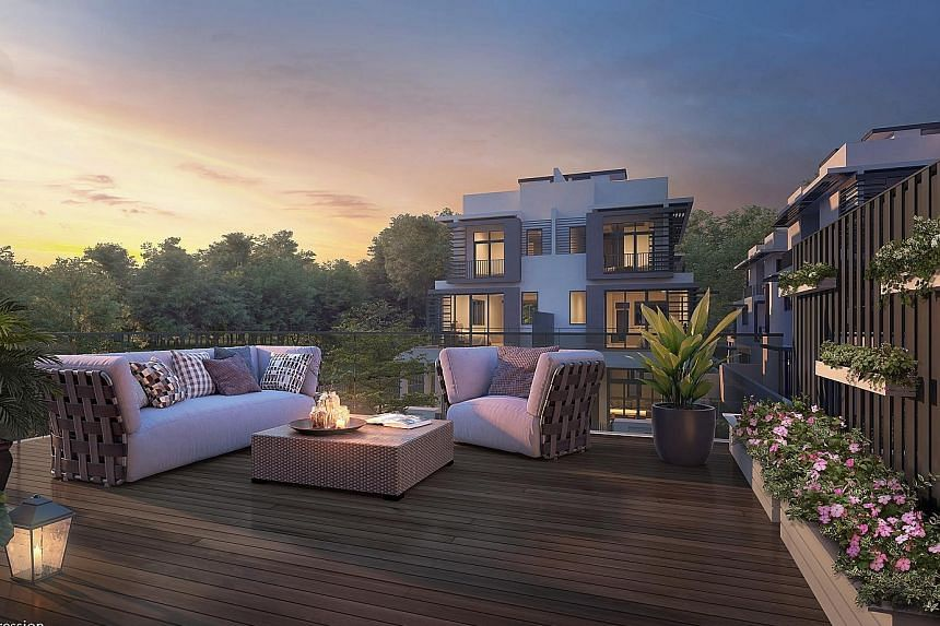 Prices for the four-storey landed homes at the Luxus Hills development in Seletar Hills Estate start from about $3 million to $4.2 million, or $1,894 per sq ft. Six of the 999-year leasehold units have been sold.