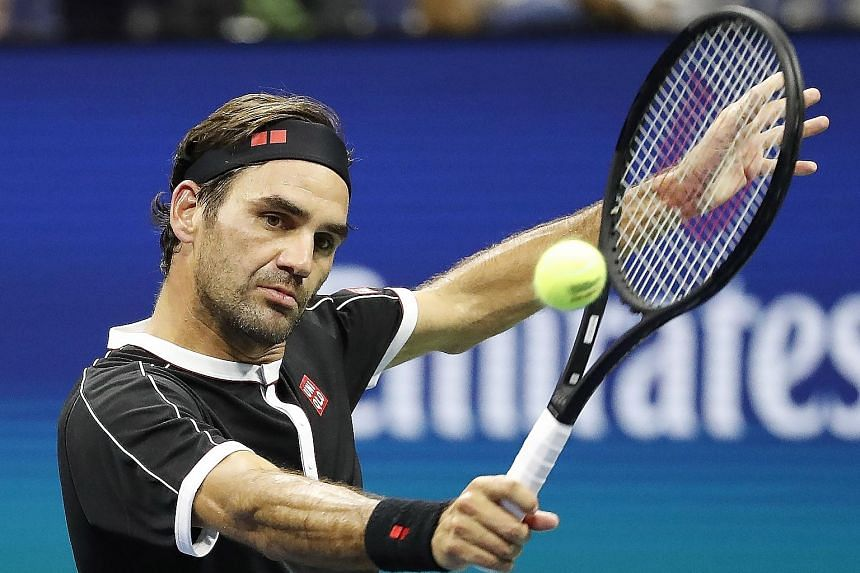 Roger Federer making a return in his 4-6, 6-1, 6-2, 6-4 win over Sumit Nagal in the US Open first round on Monday. Of the 32 points won by Nagal in the first set, 19 were unforced errors from Federer.