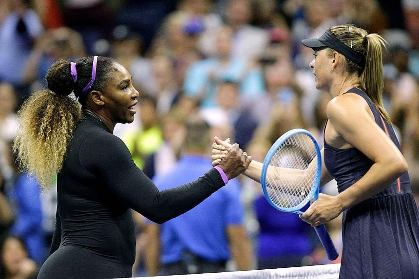 Serena Williams notched her 19th straight win over Maria Sharapova after a 6-1, 6-1 first-round victory on Monday at the US Open.