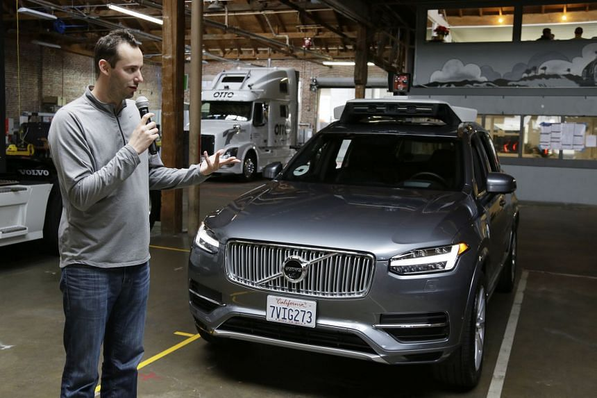 A 2016 photo shows Anthony Levandowski speaking about Uber's driverless car in San Francisco.