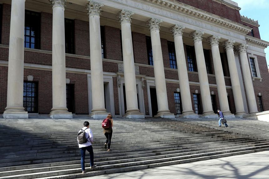 Students walking up the steps of Widener Library, on the Harvard University campus in Cambridge, Massachusetts, on May 1, 2018.