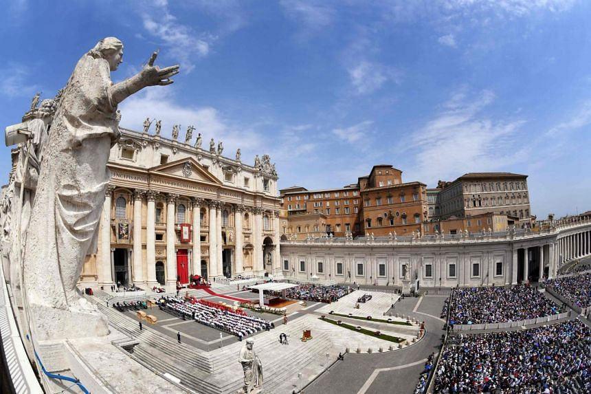 Worshippers at the Pentecost mass, on June 9, 2019, in Saint Peter's Square at the Vatican.