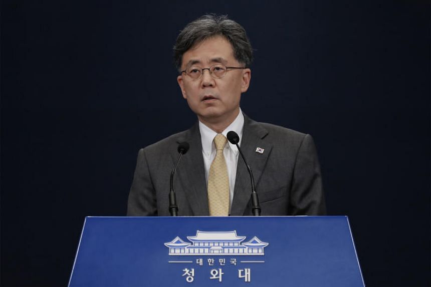 Deputy director of South Korea's presidential National Security Office Kim Hyun-chong giving a briefing at the Blue House in Seoul on Aug 28, 2019.