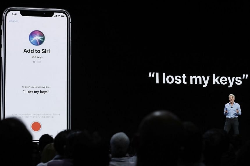 A 2018 photo shows Siri being introduced during an announcement of new products.