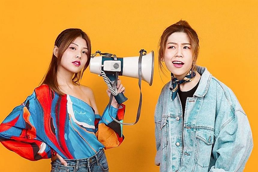 Home-grown pop duo StellaVee (comprising Stella Seah, far left, and Vee, left) will perform their first ticketed showcase in November, while Singaporean singer-songwriter Celeste Syn (right) will team up with Taiwanese pop singer Lara Liang for a per