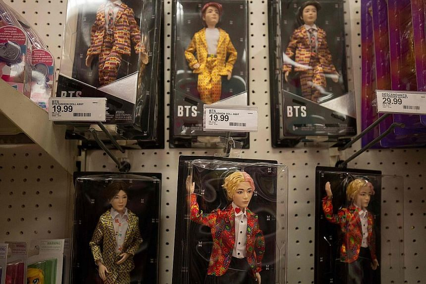 Made-in-China toy dolls of South Korean boy band BTS at a store in Washington. Big toy purveyors such as Walmart have already piled up inventory, given the uncertainty over how the trade war between the US and China will pan out, according to industr