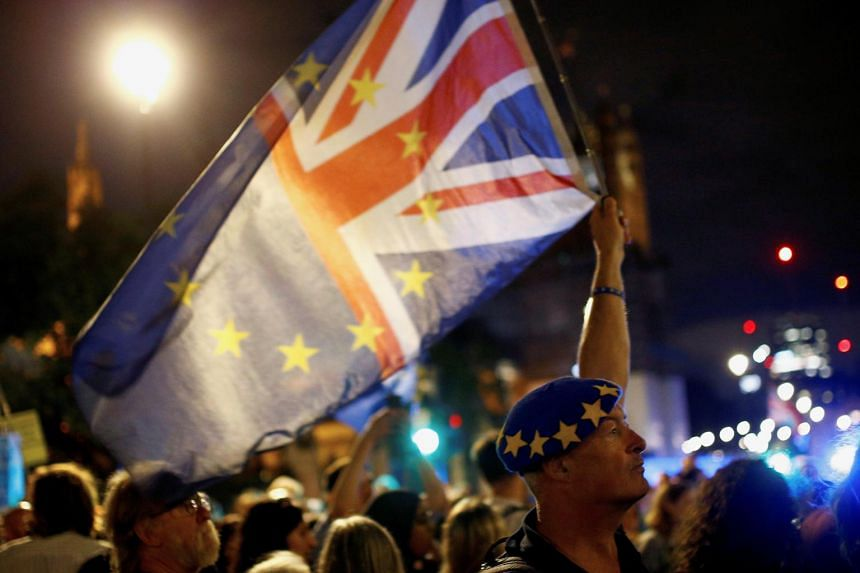 An anti-Brexit protester holds a flag outside the Houses of Parliament in London, Britain on Aug 28, 2019.