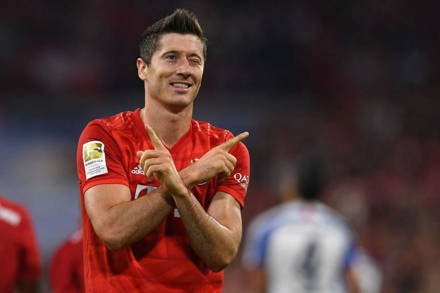 Polish forward Robert Lewandowski celebrates a goal.
