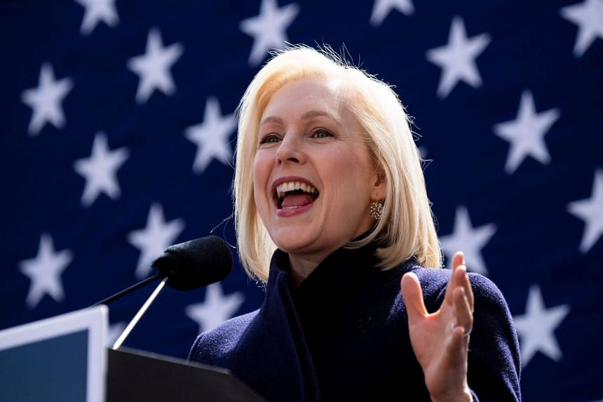Gillibrand speaks during the official kick-off rally of her campaign for US president in New York.