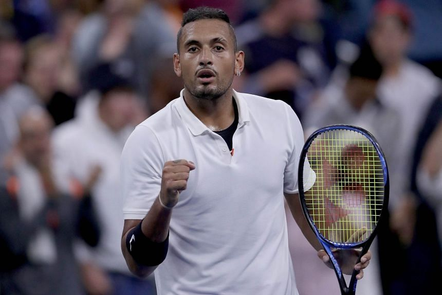 Kyrgios celebrates his first-round win in the US Open against Steve Johnson of the United States.